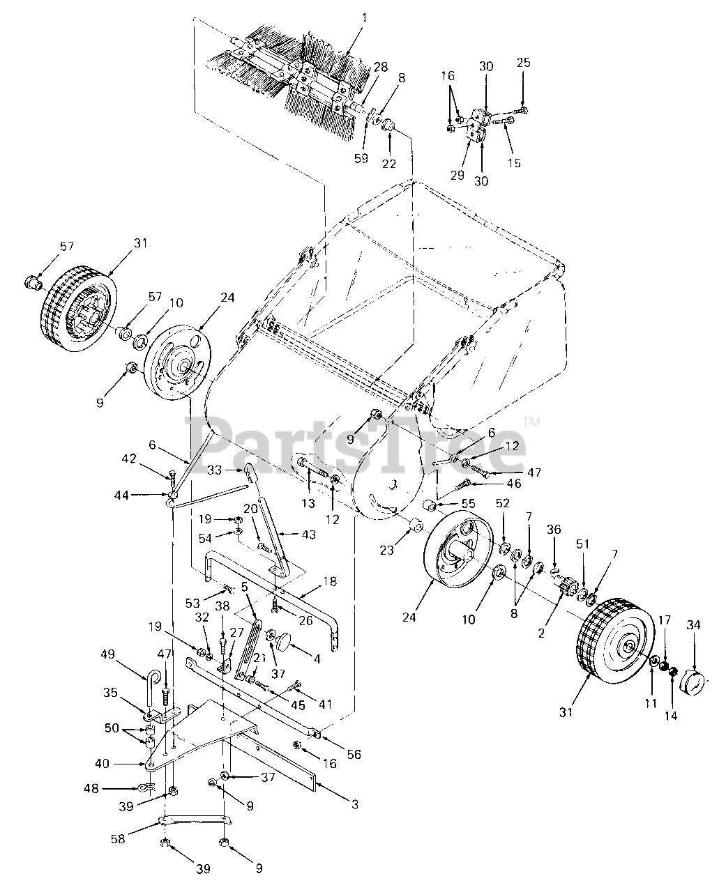 Cub Cadet Parts On The Wheels Brush And Hitch Diagram For