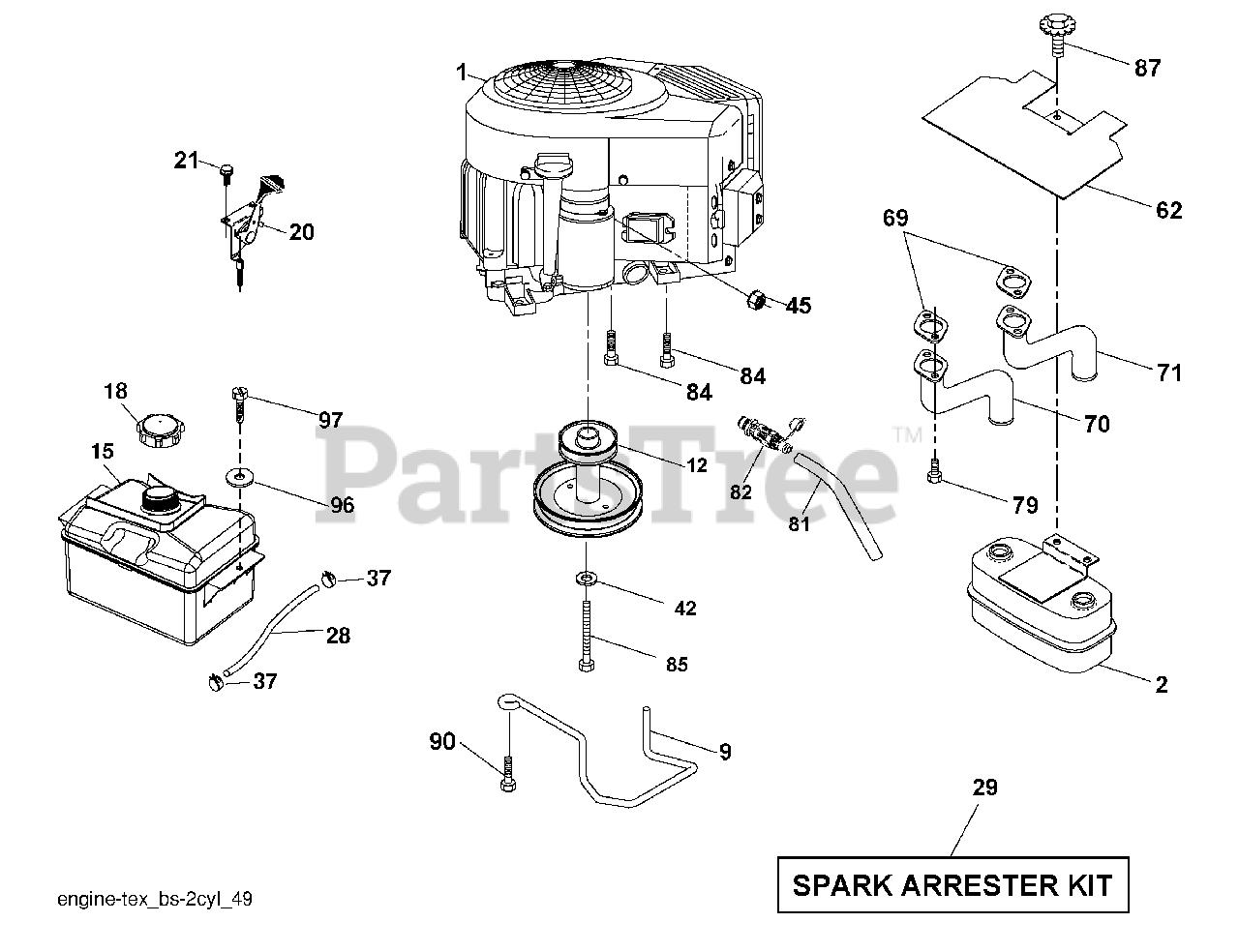 Husqvarna Parts On The Engine Diagram For Yth 22v46