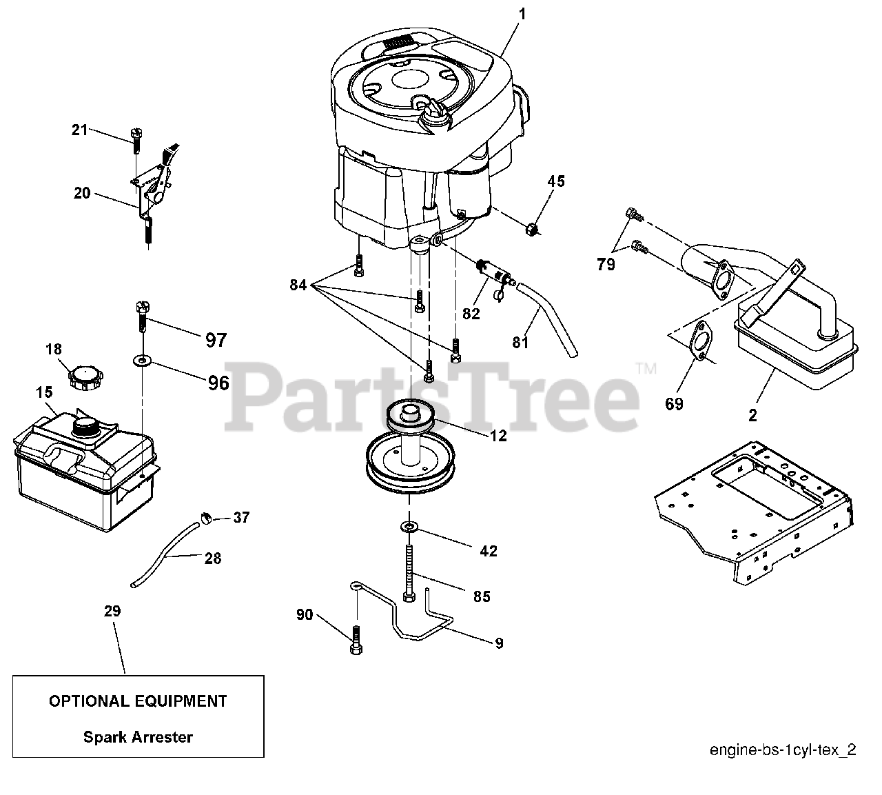 Poulan Pro Parts On The Engine Diagram For Pb 195h46 Yt