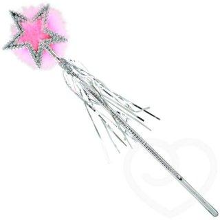 Zauberstab mit rosa Marabufedern und Lametta