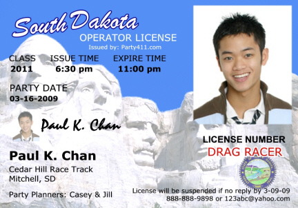 Personalized Drivers License Invitations And Birth