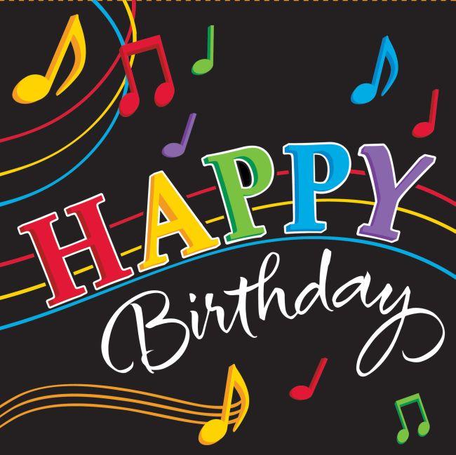 Tanzende Noten Happy Birthday 3 Ply Mittagessen Servietten 16 Stuck Musik Party Ebay