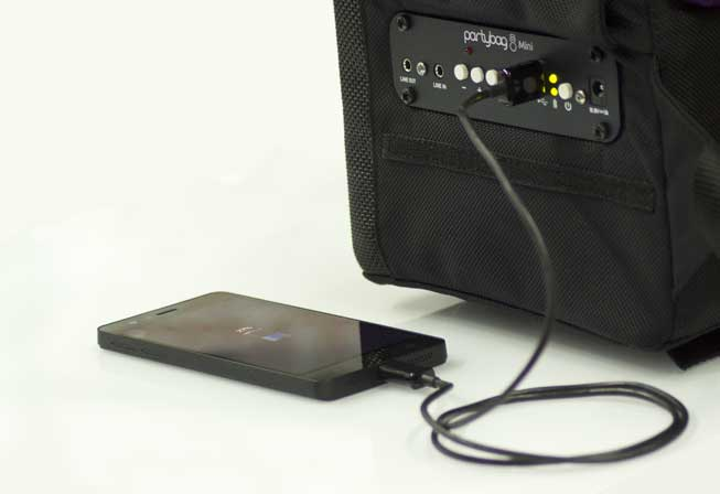 Recharge your smartphone or tablet - Partybag act as a PowerBank!