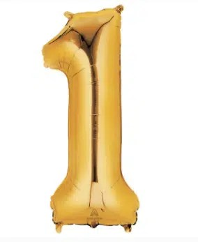 Number Balloon 1 Gold