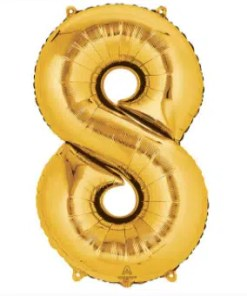 number balloon 8 gold