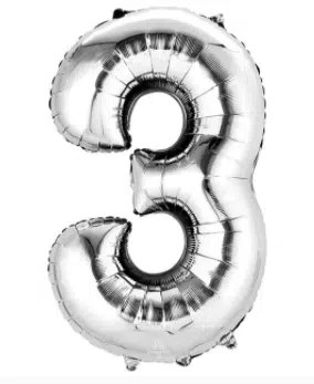 Number Balloon 3 Silver