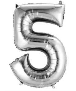 Number Balloon 5 Silver