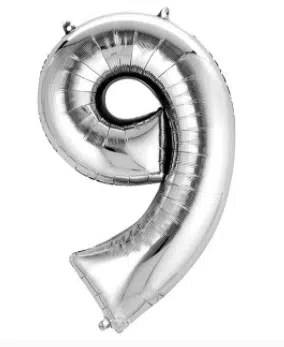 Number Balloon 9 Silver