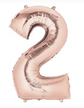 Number Balloon 2 Rose Gold