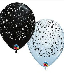 Stars Black & White Latex Balloon