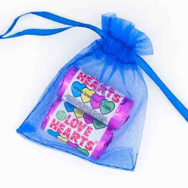 Organza Bag Dark Blue Love Hearts