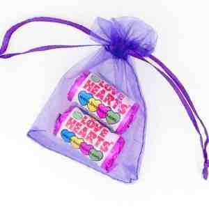 Organza Bag Purple Love Hearts