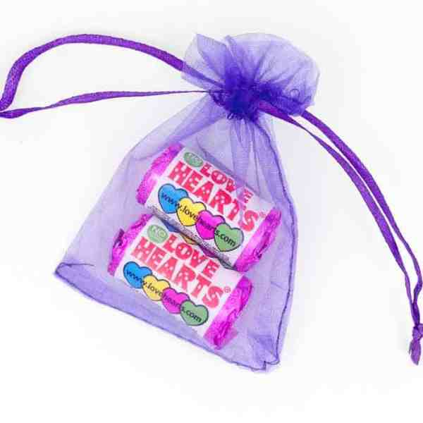 Organza Bag Purple Love Hearts