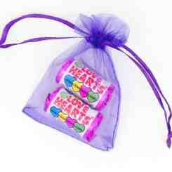Purple Organza Gift Bags 7cm x 5cm - Love Heart Sweets