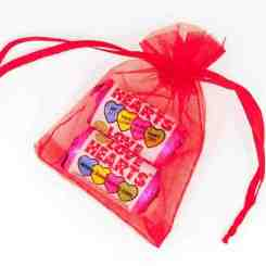 Red Organza Gift Bags 7cm x 5cm - Love Heart Sweets