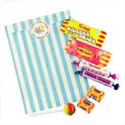 Light Blue Stripe Filled Paper Sweet Bags