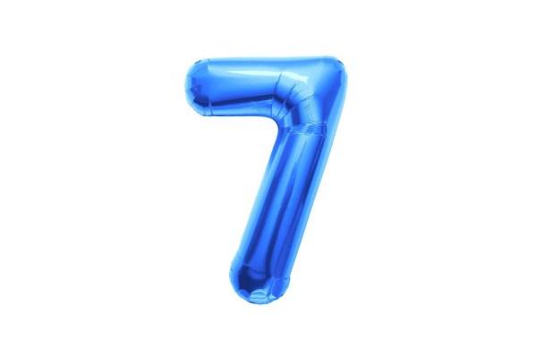 "Numero 7 Foil Gigante H 40""/100 cm. Blu (5 pezzi)-0"