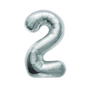 """Numero 2 Foil Piccolo H 7""""/18 cm. Silver (10 Pezzi)-0"""