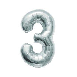 "Numero 3 Foil Gigante H 40""/100 cm. Silver (5 pz)-0"
