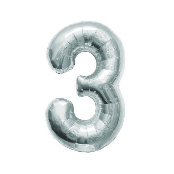 Numero 3 Foil Piccolo H 7/18 cm. Silver (10 Pezzi)-0