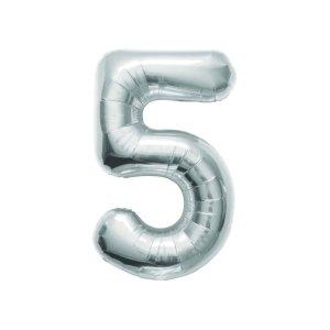 """Numero 5 Foil Piccolo H 8""""/20 cm. Silver (10 pezzi)-0"""