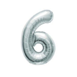 "Numero 6 Foil Gigante H 40""/102 cm. Silver (5 pz)-0"