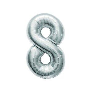 "Numero 8 Foil Gigante H 40""/102 cm. Silver (5 pz)-0"