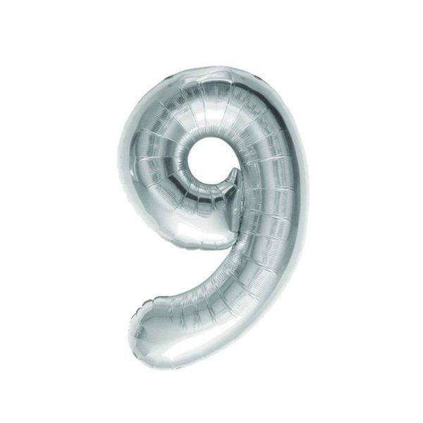 """Numero 9 Foil Piccolo H 7""""/18 cm. Silver (10 Pezzi)-0"""