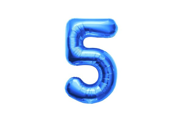 "Numero 5 Mylar Medio H 14""/36 cm. Blu (5 Pezzi)-0"