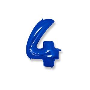 "Numero 4 Mylar Medio H 14""/36 cm. Blu (5 Pezzi)-0"