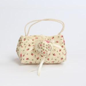 Borsetta bomboniera pochette con manico in cordoncino colore avorio con fiori e cuore imbottito (10 pz) STOCK-0