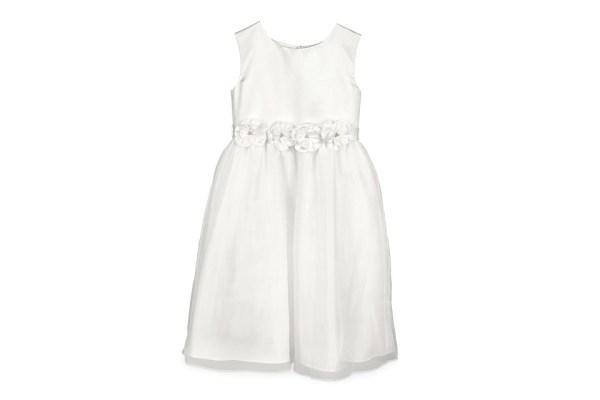 Abito damigella colore bianco cintura fiori (4 anni)-0