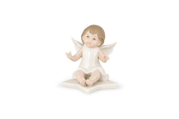 Bomboniera angelo su stella h. 9 con scatola-0