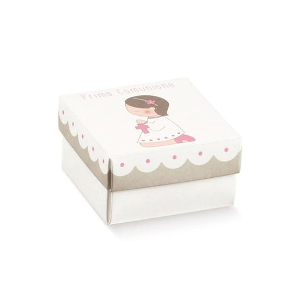 Scatola fondo e coperchio comunione rosa (10 pezzi)-0