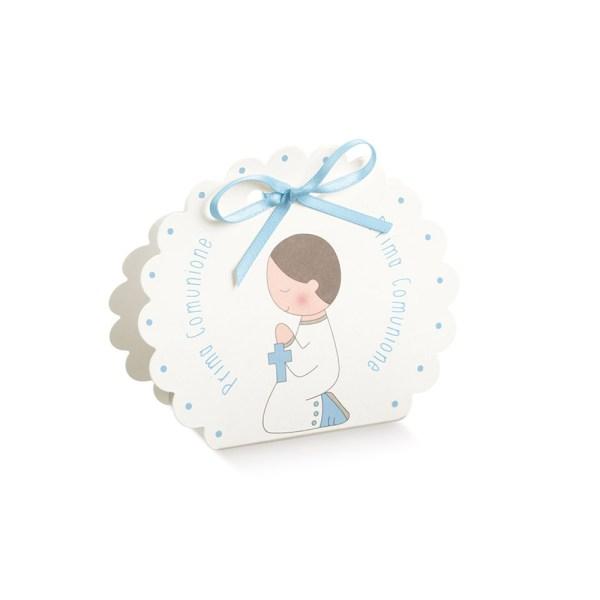 Scatola borsa rotonda comunione celeste (10 pezzi)-0