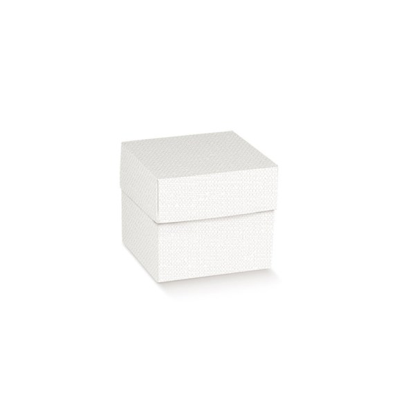 Scatola pieghevole con coperchio lino bianca 8 X 8 X 6 cm (10 pezzi)-0