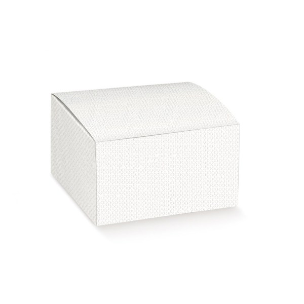 Scatola pieghevole lino bianca 12 X 12 X 8 cm (10 pezzi)-0