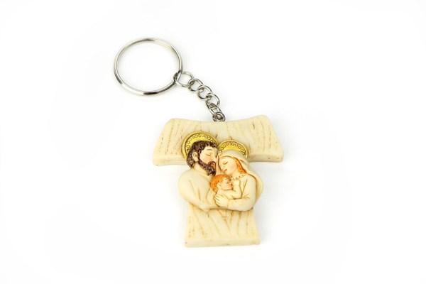 Portachiavi Croce Tao Sacra Famiglia 4 cm (12 pezzi)-0