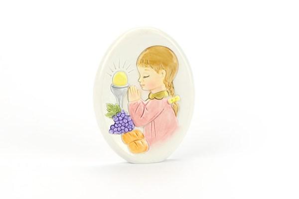Bomboniera Comunione Bambina Ovale 8 cm (12 pezzi)-0