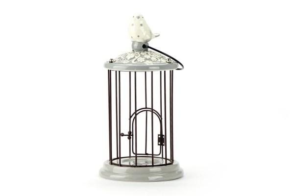 Gabbia Tonda Tortora con Uccellino | Piccolo 25 cm-0