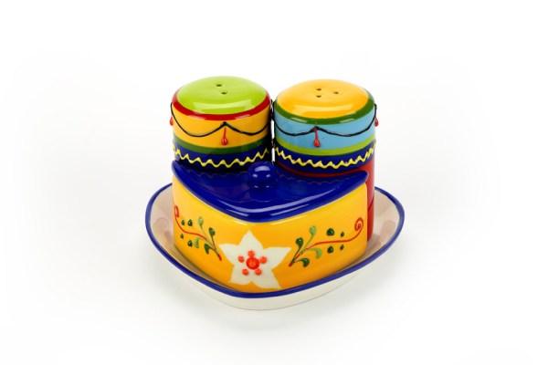 Set Vassoio+Sale e Pepe+Portaspezie Colorato con Scatola-0