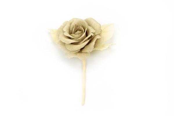 Fiore Stoffa Beige Decorazione Bomboniera (6 pezzi)-0