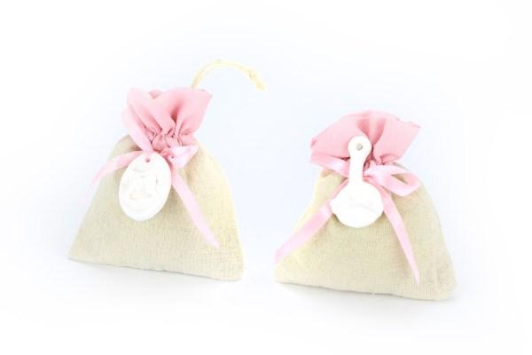sacchetti stoffa beige e rosa tirante