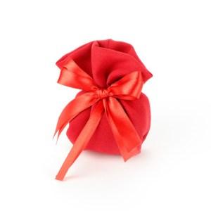 Sacchetto Portaconfetti Rosso Cotone a Pieghe Piccolo (10 pezzi)-0