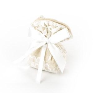 Sacchetto Sabbia con Pizzo Bianco Piccolo (10 pezzi)-0