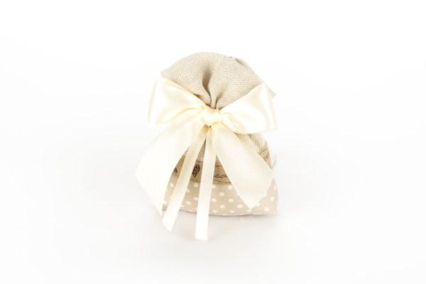 Sacchetto Sabbia con base a Pois e fascia nocciola Piccolo (10 pezzi)-0