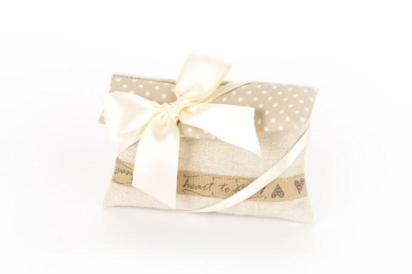 Bustina Sabbia con Pattina a Pois e fascia nocciola Piccola (10 pezzi)-0