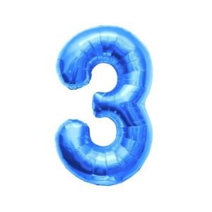 """Numero 3 Foil Piccolo H 8""""/20 cm. Blu (10 Pezzi)-0"""