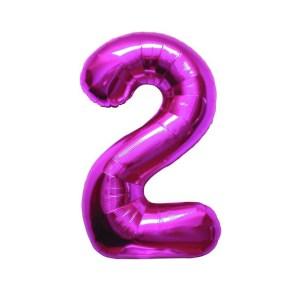 """Numero 2 Foil Piccolo H 8""""/20 cm. Fuxia (10 Pezzi)-0"""