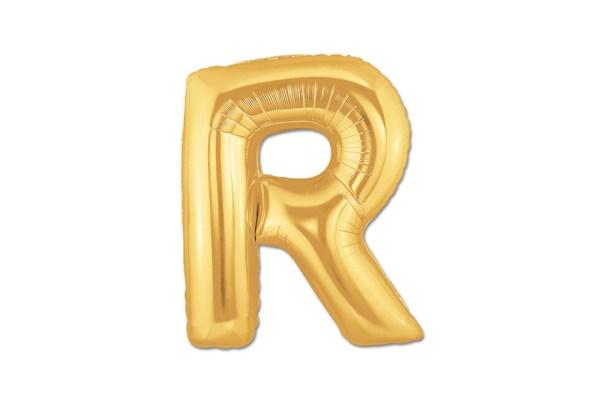 """PALLONCINO LETTERA """"R"""" MYLAR ORO H CM 20/8'' (10 PEZZI)-0"""